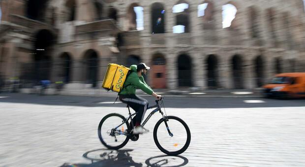 Un rider in consegna