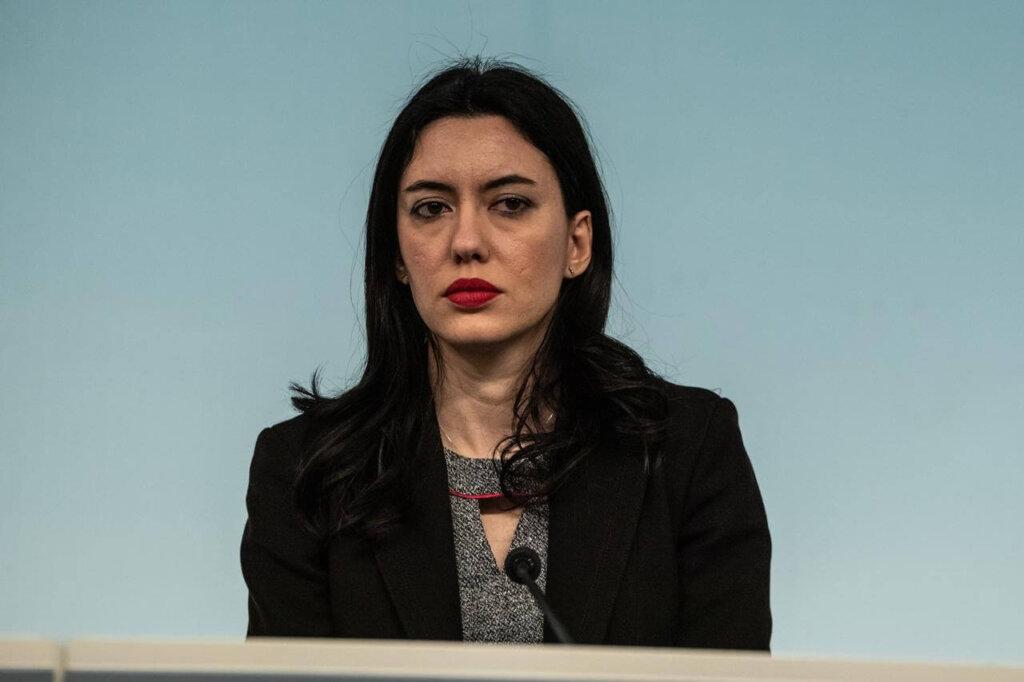 Il ministro dell'Istruzione Lucia Azzolina in conferenza stampa