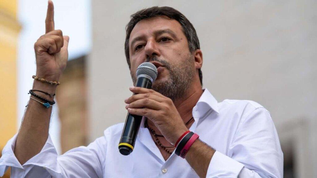 Il leader leghista Matteo Salvini in un intervento pubblico