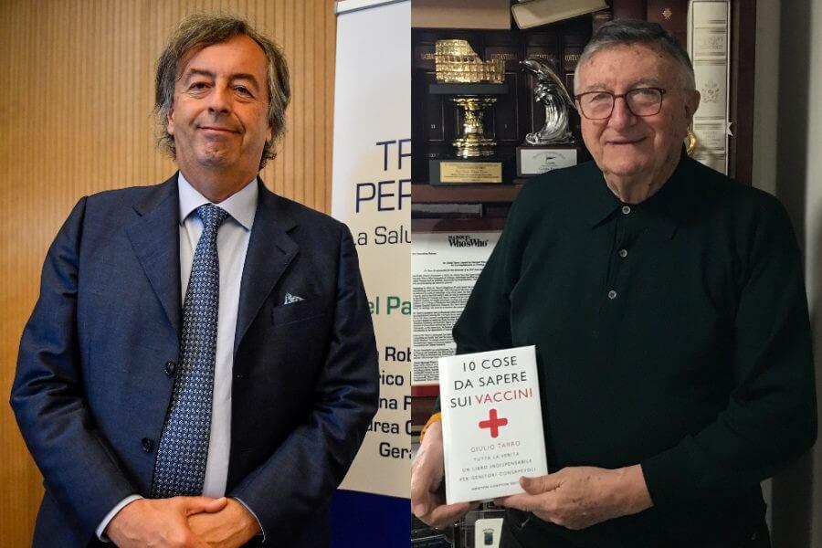 A sinistra il virologo Roberto Burioni, a destra il virologo Giulio Tarro